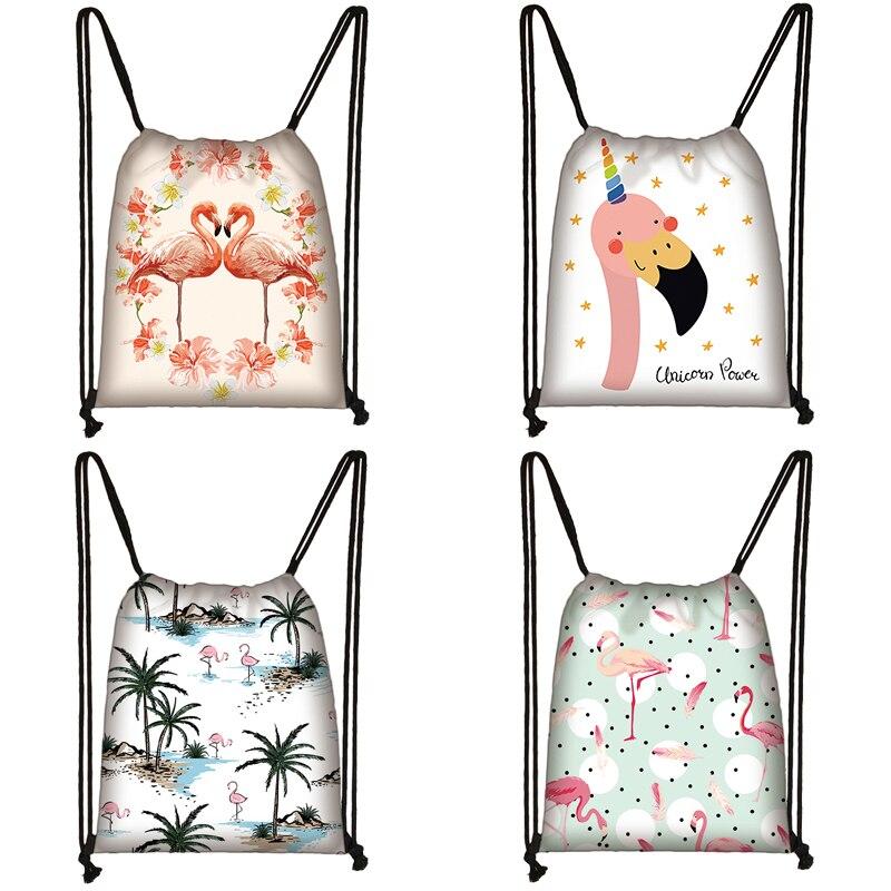 Cartoon Flamingo Print Drawstring Bag Women Travel Bag Teenager School Bag Brown Girl And Boy Backpack Fashion Storage Bags Q816
