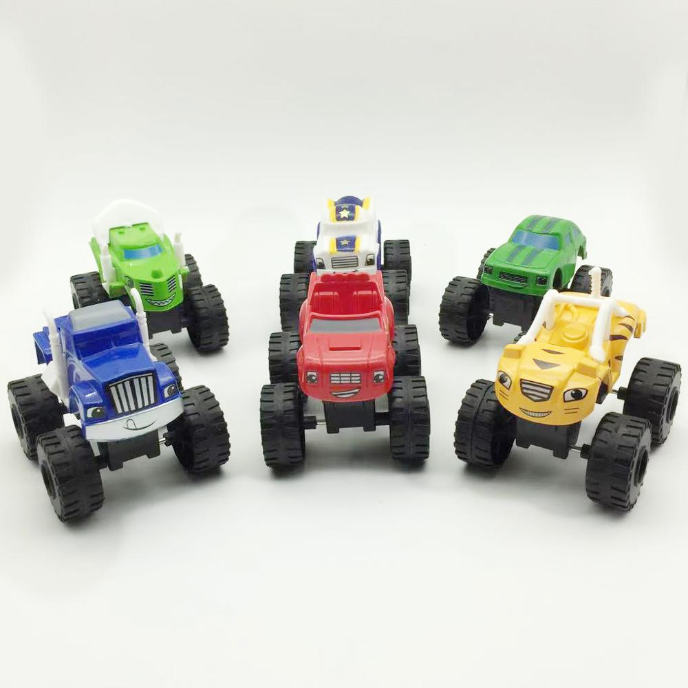 6PCS/Lot Blaze Miracle Cars Monster Machines Russia Kid Toys Blaze Vehicle Car Toys Best Gifts For Baby