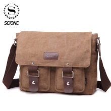 SCIONE Men's Vintage Canvas Bag Men Casual Crossbody Bag For Men Messenger Bag Man Travel Black Bags Bolsa Masculina High Qualit high quality men backpack zipper solid men s travel bags canvas shoulder bag computer bag masculina bolsa school bags