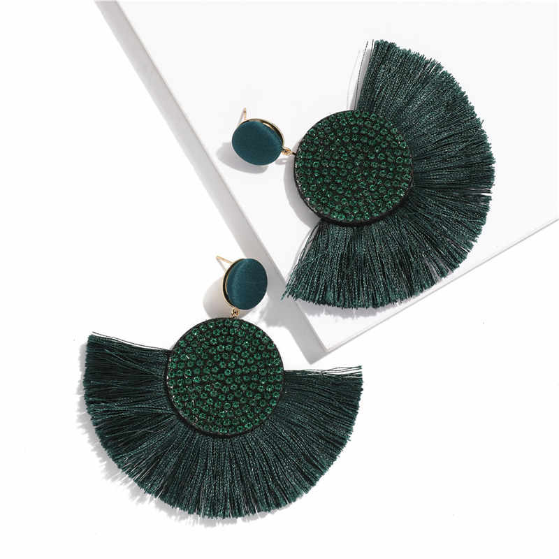 แฟชั่น Boho พู่ VINTAGE Drop ต่างหูสำหรับผู้หญิงสีดำสีแดงสีเหลืองขนาดใหญ่ Dangle Fringe Earrings2019 rhinestone เครื่องประดับ
