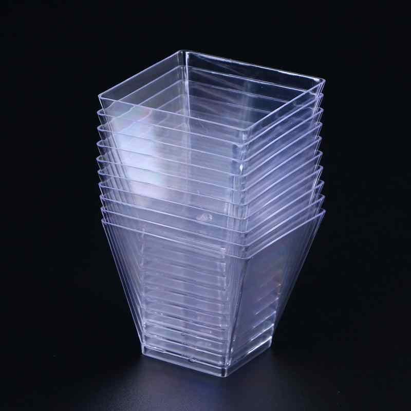 50PCS 60Mlทิ้งถ้วยพลาสติกล้างส่วนโปร่งใสTrapezoidalคอนเทนเนอร์สำหรับวุ้นโยเกิร์ตMoussesขนมหวาน
