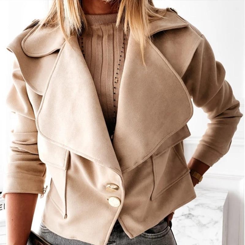 Women Oversize Coat 2021 Autumn Lapel Button Long Sleeve Short Jackets Tops Vintage Soft Casual Coat Jackets Women Outerwear