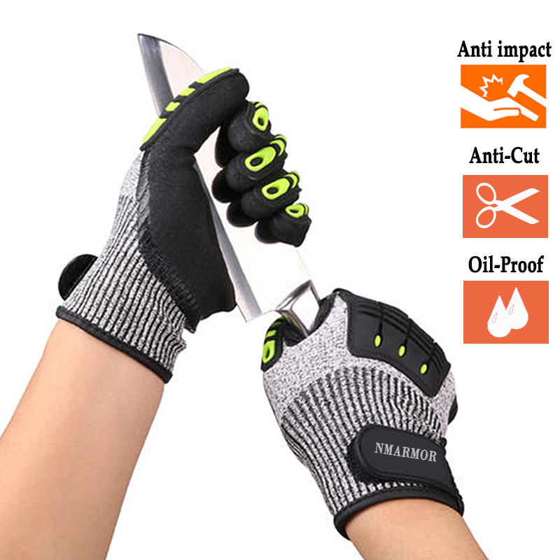 100% High Quality Anti-Vibration Gloves Oil TPR Safety Working Glove Anti-Cut Shock Absorbing Mechanics Impact Resistant Gloves