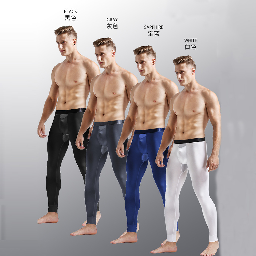 Мужские сексуальные эластичные дышащие теплые леггинсы с разделением, облегающие длинные брюки, джоггеры, уличная одежда, леггинсы, аниме штаны для бега