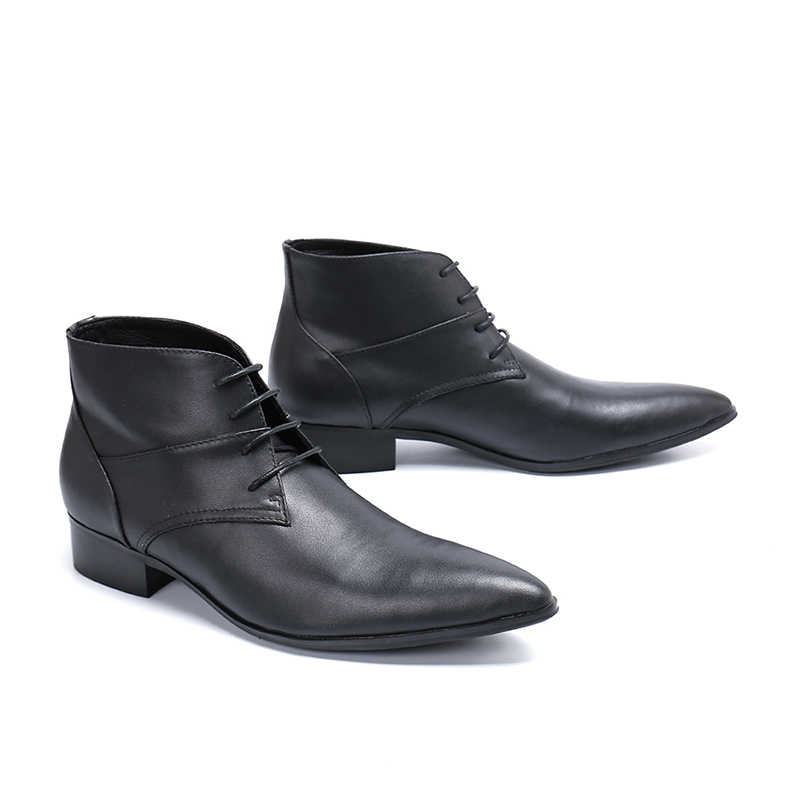 Genuine Leather Pointed-toe Lace-up Black Ankle Boots Low Heel Formal Boots Fashion Party Stage Dress Shoes
