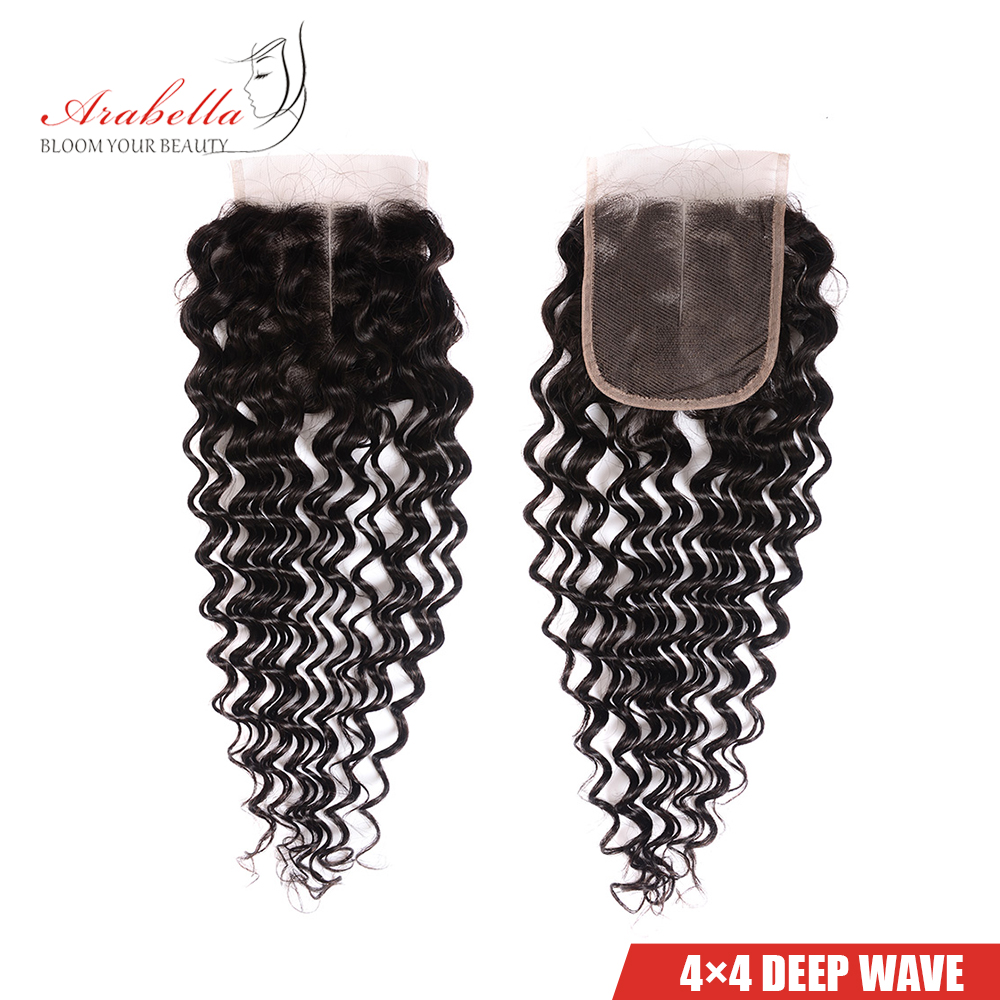 Deep Wave Bundles With Closure Arabella Natural Color  Hair s  Bundles With 4*4 Lace Closure 3