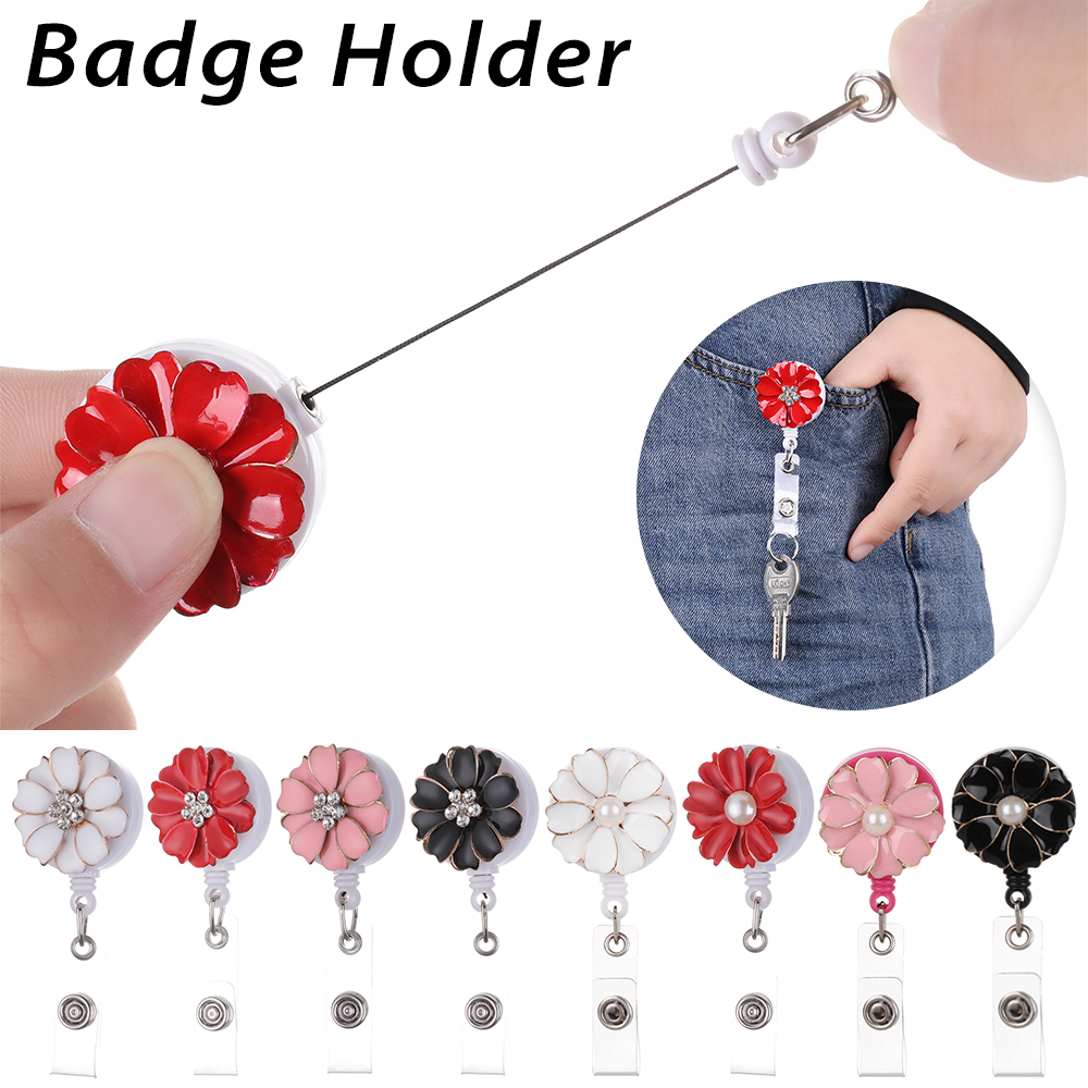 Flower Pearl Retractable ID Badge Reel Holder Fashion New Design Nurse Badge Reel Clip Hospital Nursing Accessories