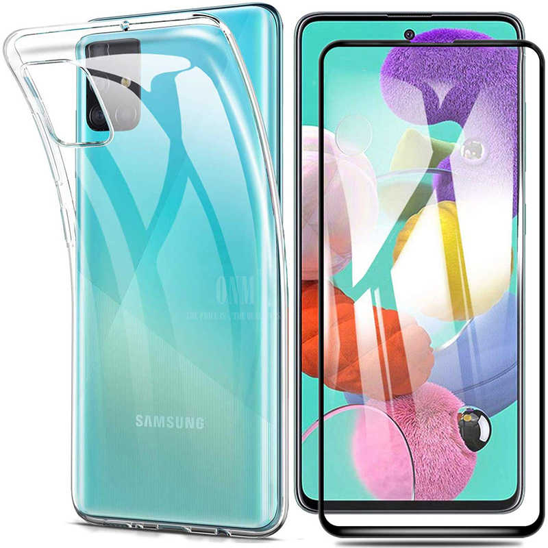 Glas + Volledige Cover Case Voor Samsung Galaxy A51 A71 A50S A30s Silicone Case Cover Voor Samsung A51 A71 A50S a30s Screen Protector