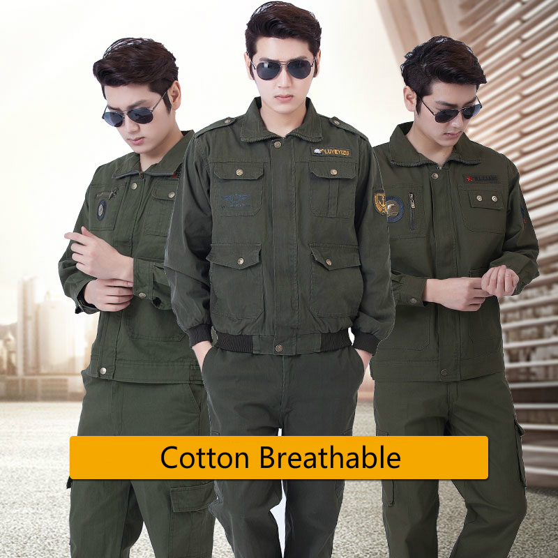 2 Pieces Solid Army Green Suit Set Spring Welding Workwear Suit Men Labor Insurance Pure Cotton Thicken Wear-Resistant Clothing