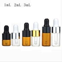 Recipiente de óleo essencial das garrafas de vidro claras ambarinas de 10 pces com conta-gotas de vidro 1/2/3 ml do olho