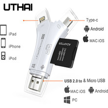 UTHAI C80 Fulmine Micro SD/TF lettore di Schede di OTG Multi Memory Mini Adattatore per il iPhone 6/7/ 8 11 XR Plus iPod iPad OTG Cardreaders(China)