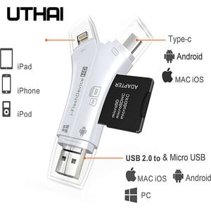UTHAI C80 Lightning Micro SD/TF OTG Card Reader Multi Memory Mini Adapter for iPhone 6/7/8 11 XR Plus iPod iPad OTG Cardreaders