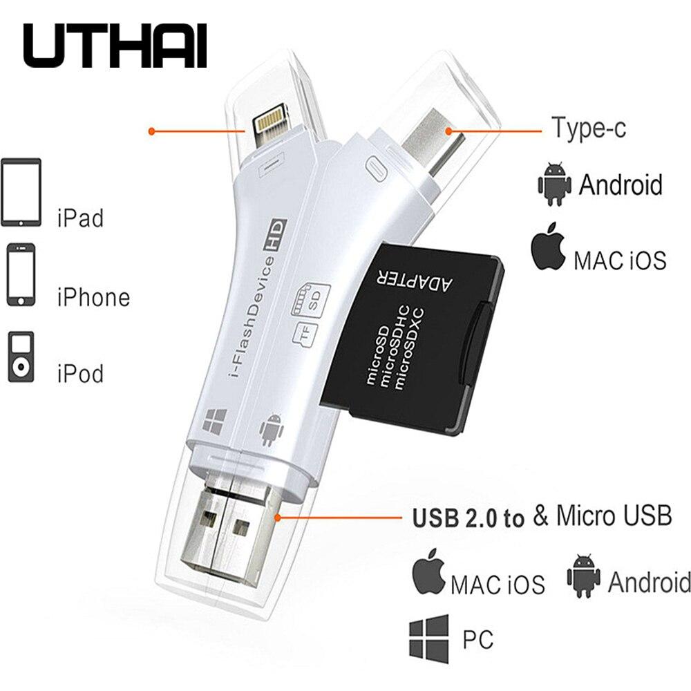 Uthai c80 relâmpago micro sd/tf otg leitor de cartão multi memória mini adaptador para iphone 6/7/8 11 xr mais ipod ipad otg carregadores