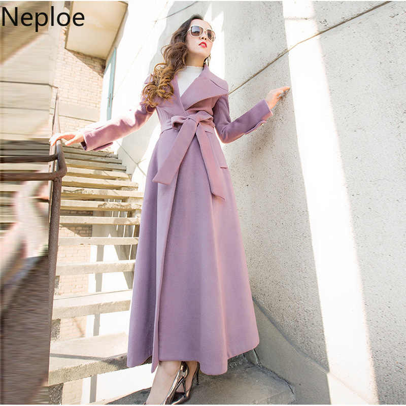 Neploe X-Long Slim Sashes Women WOOL Blends Solid Grace Female Coat 2019 New Auttum Fashion Pockets Single Breasted Outwear