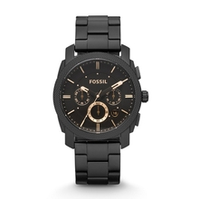 FOSSIL Machine Mid-Size Chronograph Black Stainless Steel Watch for Men FS4682P