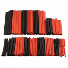 цена на 150Pcs Multi Sizes Shrinkable Tube Assortment Kit Red Black Heat Shrink Tubing Tube Polyolefin 2:1 Cable Sleeving Wire Wrap Kit