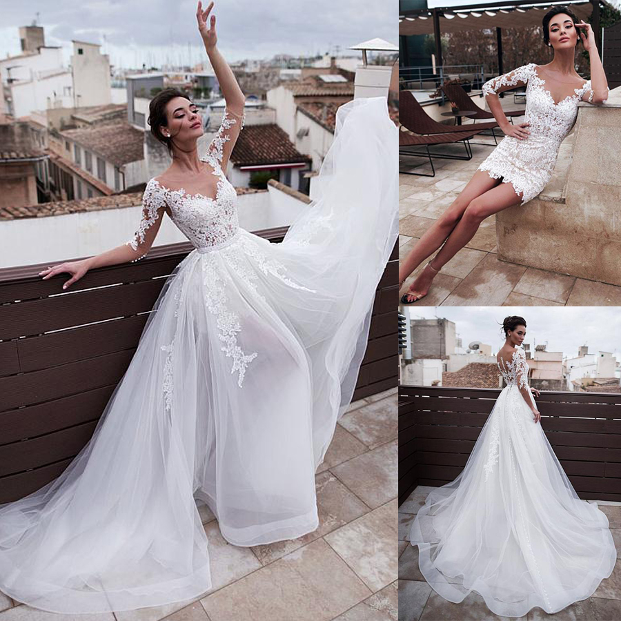 Marvelous Jewel Neckline 2 In 1 Wedding Dresses With Detachable Skirt Lace Appliques 3/4 Sleeves Two Pieces Bridal Gowns 2020