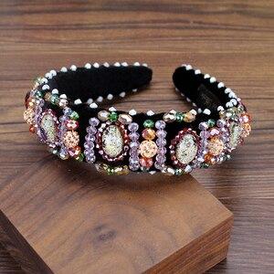 Handmade koreański moda nowe włosy biżuteria luksusowy kolorowy kryształ i koraliki Hairbands Rhinestone opaski dla kobiet dziewczyn