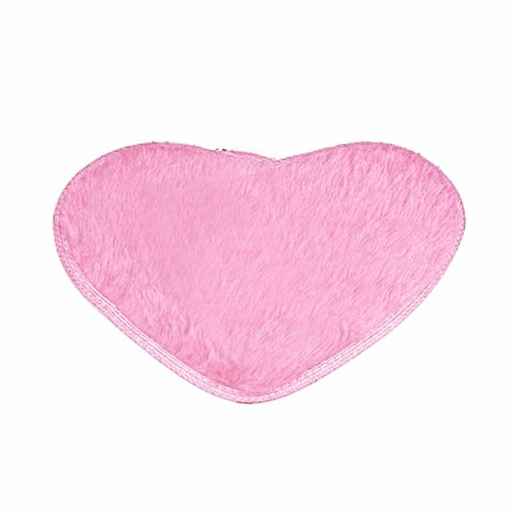Velvet Fabric Heart Shape Floor Mat Anti-slip Water Absorption Bath Mat Solid Color Bath Rugs For Bathroom Kitchen Bedroom