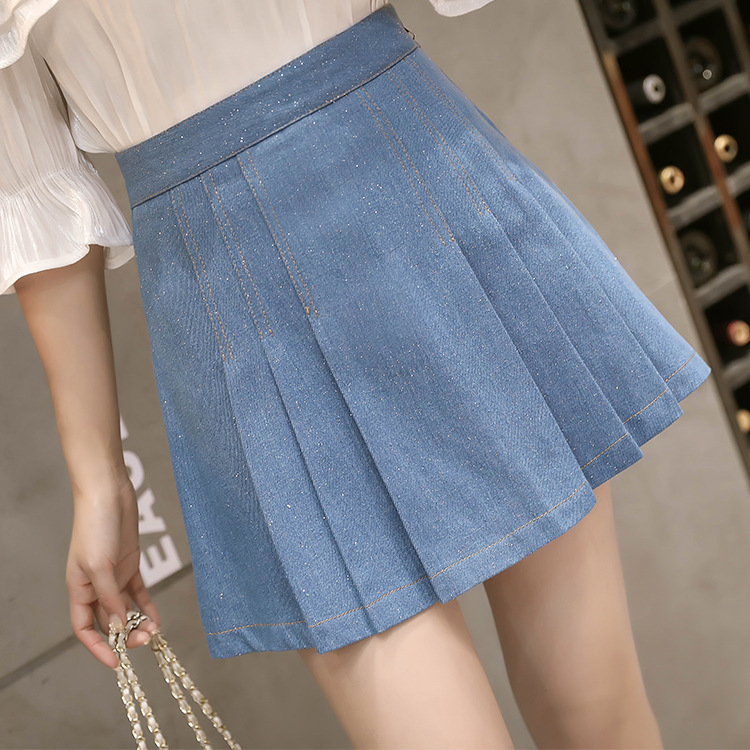 Photo Shoot Cowboy Pleated Skirt High-waisted Korean-style 2019ins Super Fire Skirt Slim Fit Shiny Summer Short Skirt
