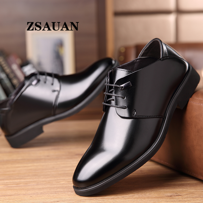 ZSAUAN 2020 Spring Men's Dress Shoes Leather Classic Derby Formal Shoes Office Business Wedding Pointed Suit Shoes Dropshipping