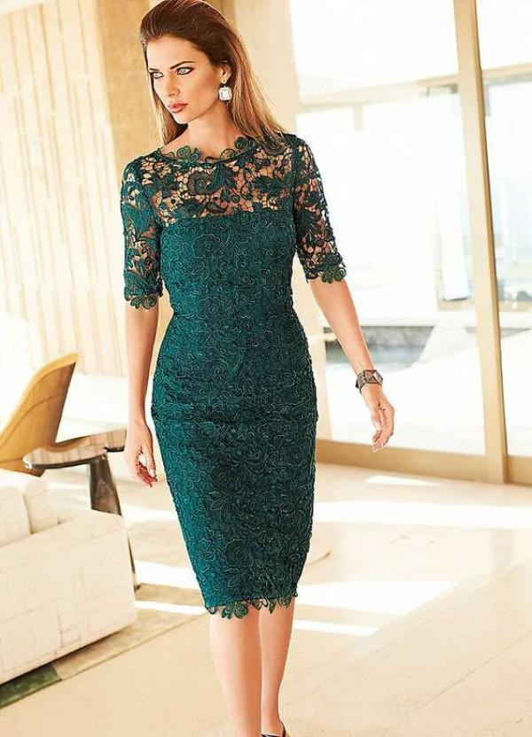 Gorgeous Lace Mother Of The Bride Groom Dresses Sheath Column Tea Length Emerald Green Half Sleeves Evening Prom Party Gowns