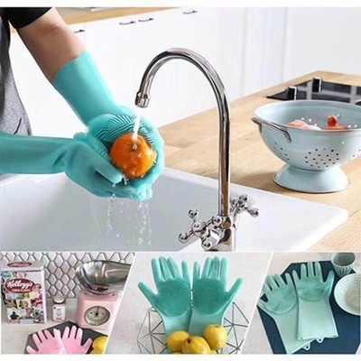 2019 קסם סיליקון מברשת לשטיפת כלים כפפות מטבח נקי תכליתי עבודות בית לחיות מחמד לשטוף ניקוי כפפות