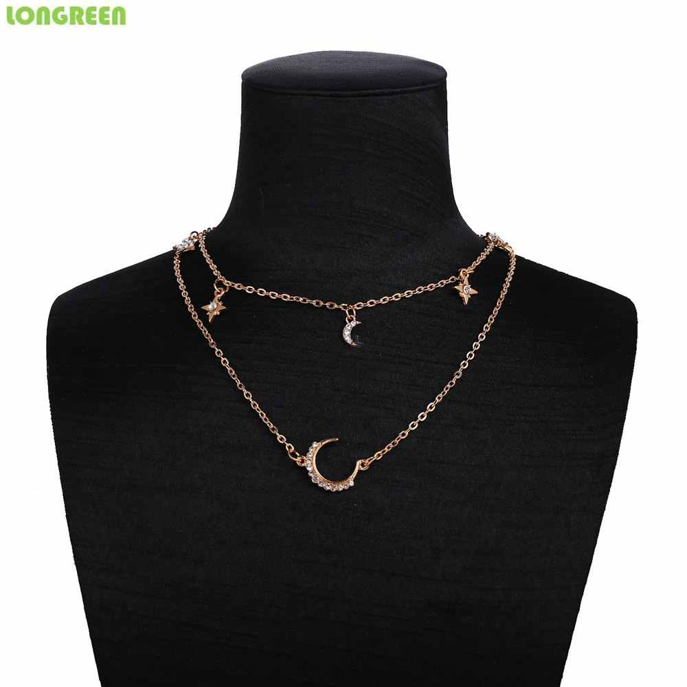 Vintage เปลือกมะพร้าวสร้อยคอ Multilayer สร้อยคอคริสตัล Moon Chain สำหรับผู้หญิง Accesorios Mujer collier coquillage Takı