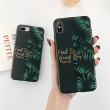 Ottwn Leaf English Letter Pattern Phone Cases For iphone 6 6S 7 8 Plus X XS Max XR Soft Silicone Back Cover Shells