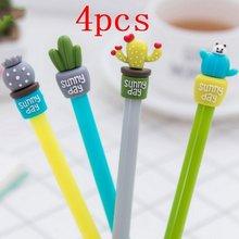 4 pçs papelaria bonito cactus caneta publicidade gel escola moda escritório kawaii fornecimento aleatório
