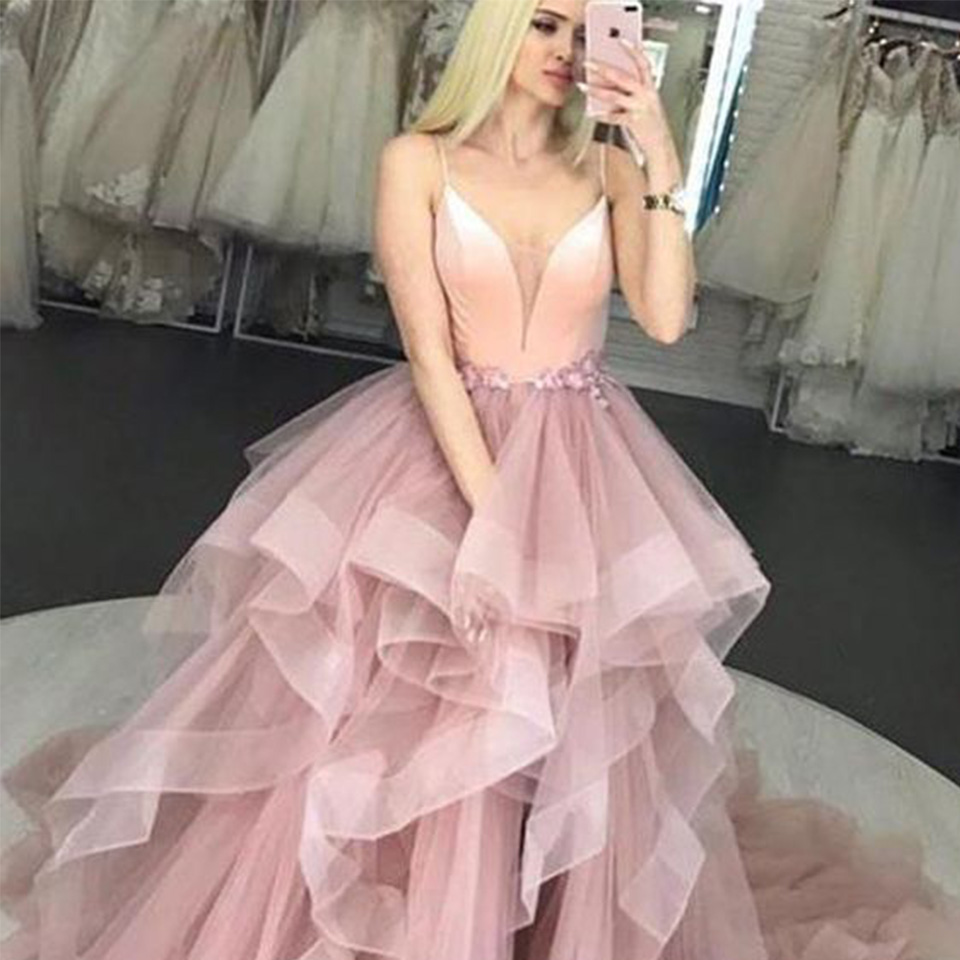Real Rill V-Neck Prom Dresses Spaghetti Straps Lace Up Back Floor Length A-Line Ruffled Tulle Party Dress Vestidos De Fiesta