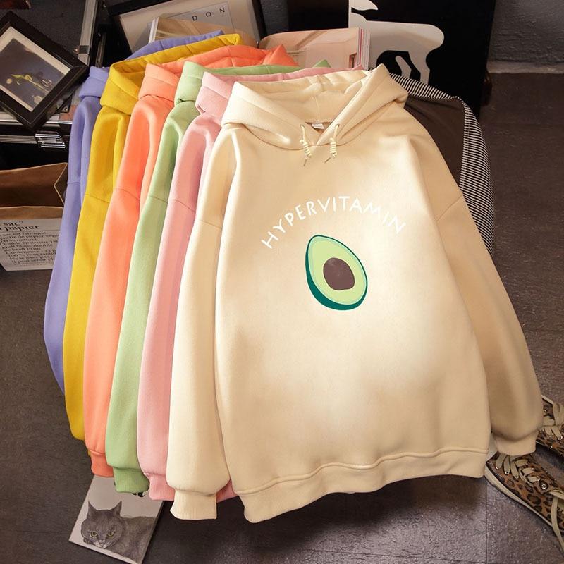 2019 Winter Harajuku Couple Sweatshirt Cute Cartoon Avocado Print Women Hoodies Korean Fashion Streetwear Female Pullovers Coats