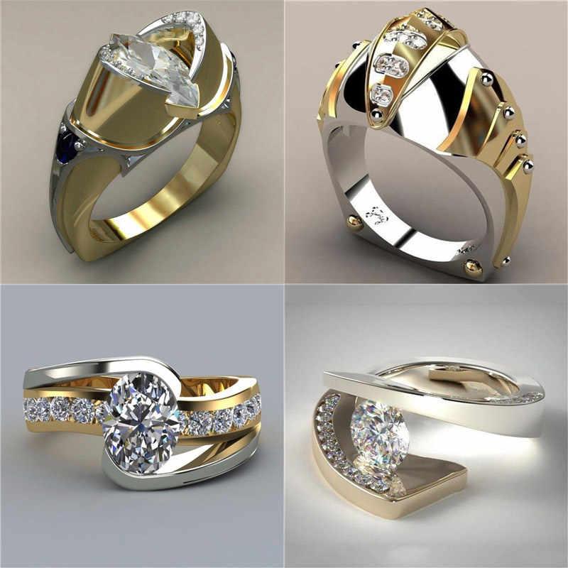 Роскошное мужское женское кольцо с большим кристалкристаллом золотого цвета, 925 серебряное свадебное ювелирное изделие, обручальные кольца для мужчин и женщин
