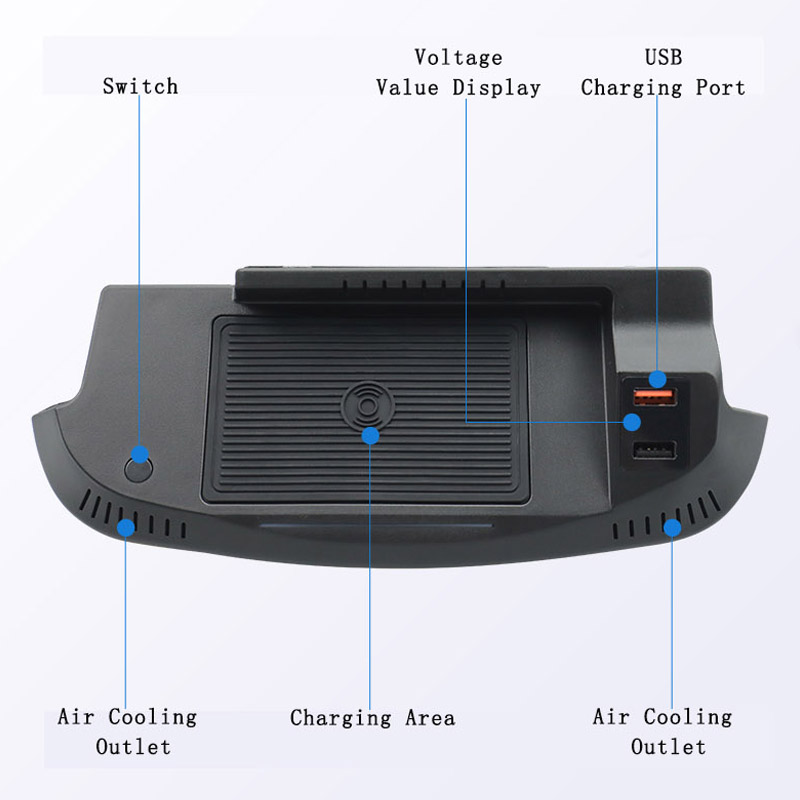 QHCP 15 Вт автомобильное беспроводное зарядное устройство для телефона Быстрая зарядка панели держатель для Ford Mustang 2015 2016 2017 2018 2019 2020 аксессуар...