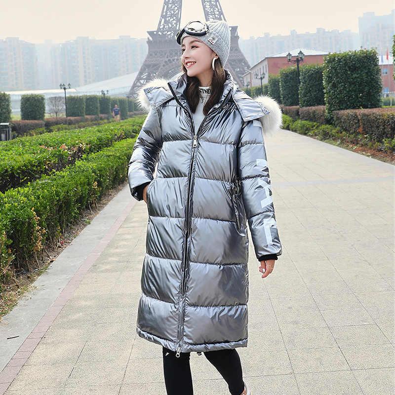 Mode Glänzend Lange Frauen Winter Jacken Rot Grau Blau Schwarz Mit Kapuze Mantel Warm Dicken Pelz Kragen Unten Parkas Mantel