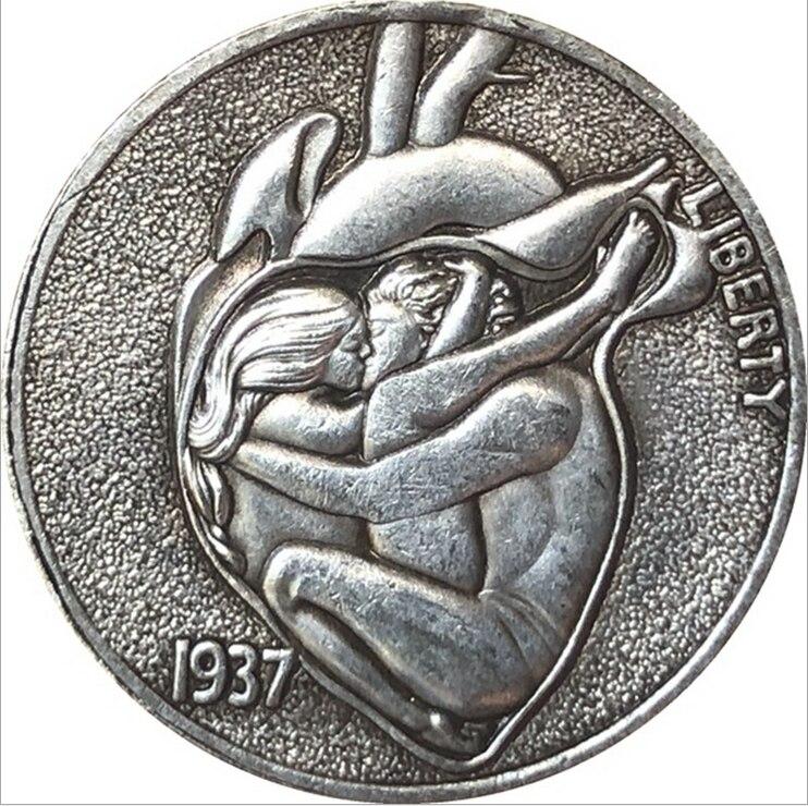 Подарочная сувенирная античная монета, американская монета в виде буйвола Хобо, памятная монета в форме сердца