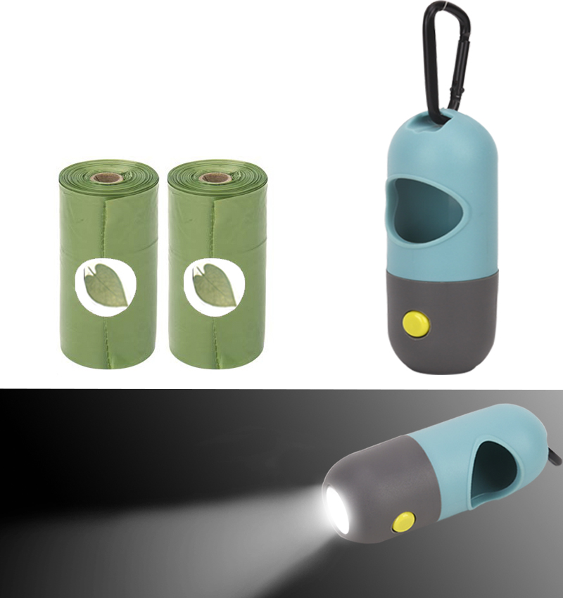 Dog Poop Bags Dispenser LED Light Waste Bag Dispenser Fits For Pet Leash Not Includes Battery Pet Degradable Poop Bags