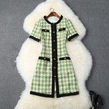 2019 Fall/winter high quality women plaid tweed dress Autumn pockets A830