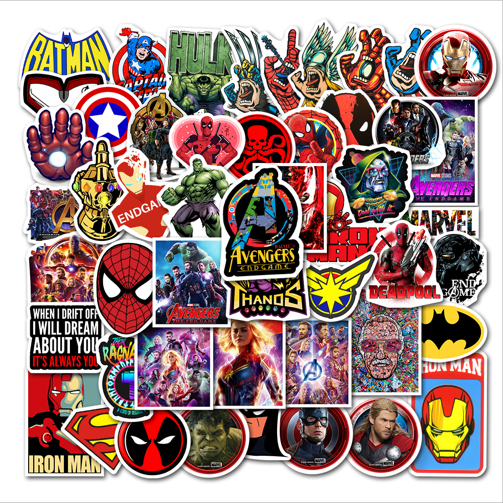 50pcs Mixed Marvel Stickers Avengers Iron Man Spriderman Deadpool For Phone Moto Laptop Luggage DIY Toys Boys Stickers Star Wars