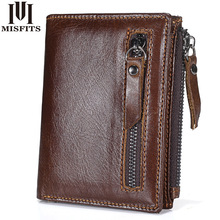 MISFITS Genuine Leather Men Wallets Short Coin Purse Vintage