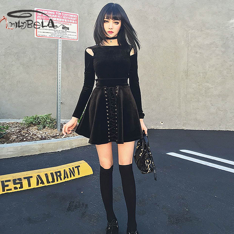 Imily Bela Casual Skirts Womens Sexy Bandage Empire Pleated Mini Skirt Black High Waist A-line Jupe Femme 2019 Autumn Winter