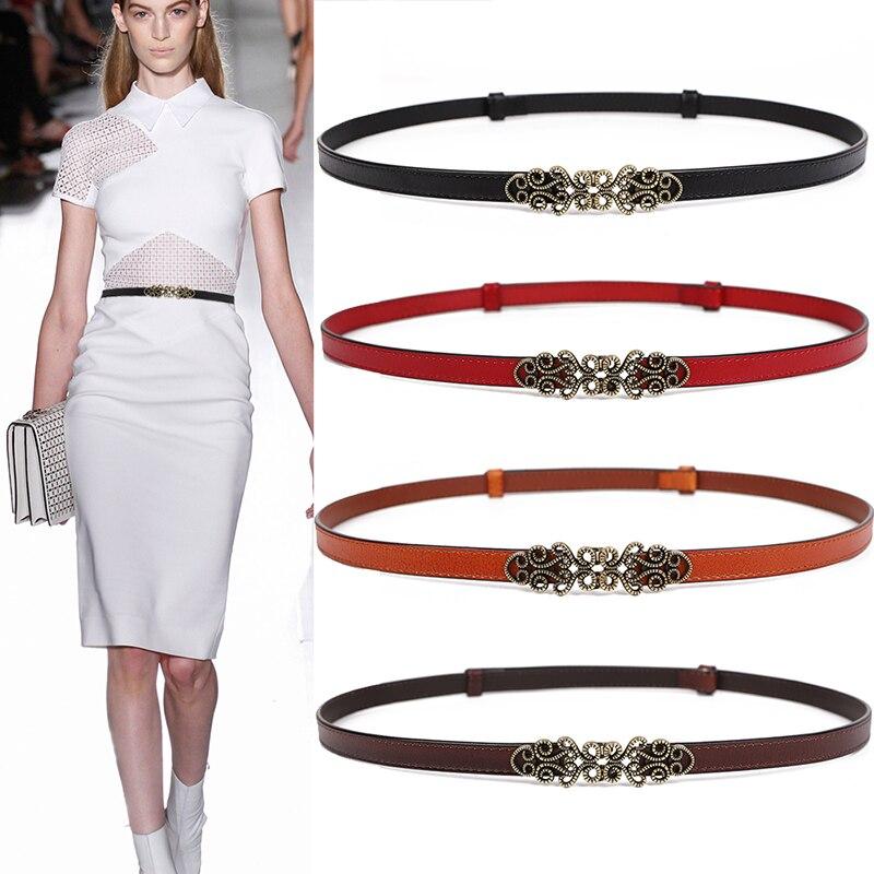 Fashion Women's Genuine Leather Belt Adjustable Slim Waistband Thin Whitecow Shiny Vintage Alloy Buckle For Dress Designer Women