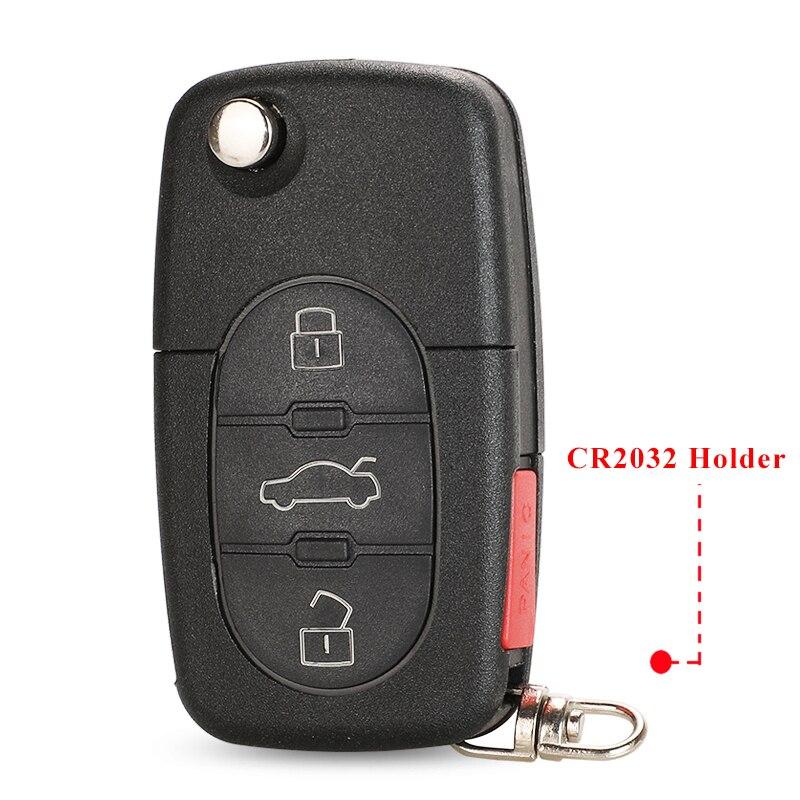 Jinyuqin-llave de coche con 4 botones, carcasa de llave abatible para VOLKSWAGEN, Seat, Skoda, Passat, Beelte, Golf