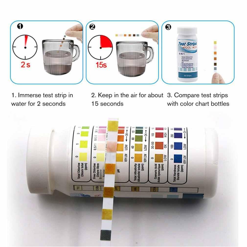 50 шт./бутылка 6 в 1 многофункциональная кислотная вода твердость для бассейна спа хлор тестовая полоса Щелочность PH циануриновый бромин