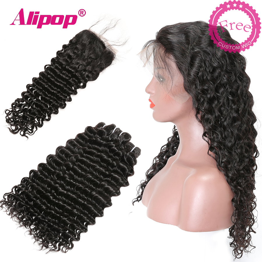 Brazilian Deep Wave Bundles With Closure Can Be Customized In To A Free Deep Wave Wig  Human Hair Bundles With Closure ALIPOP
