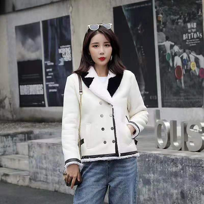 2020 New Brand Winter Coat Women PU Leather Jacket 100% Wool Parka Real Fur Short Style Turn-down Collar Clothing