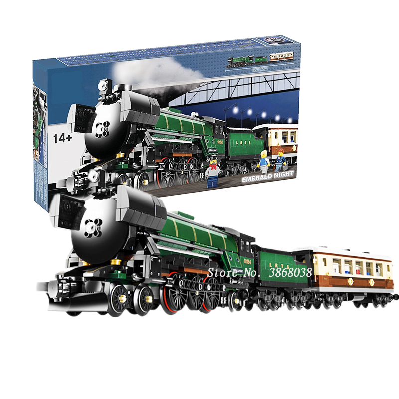 WITH BOX In Stock 1109pcs Technic Series Emerald Night Train Model Building Kit Block Bricks Compatible Lepining Technic Toys