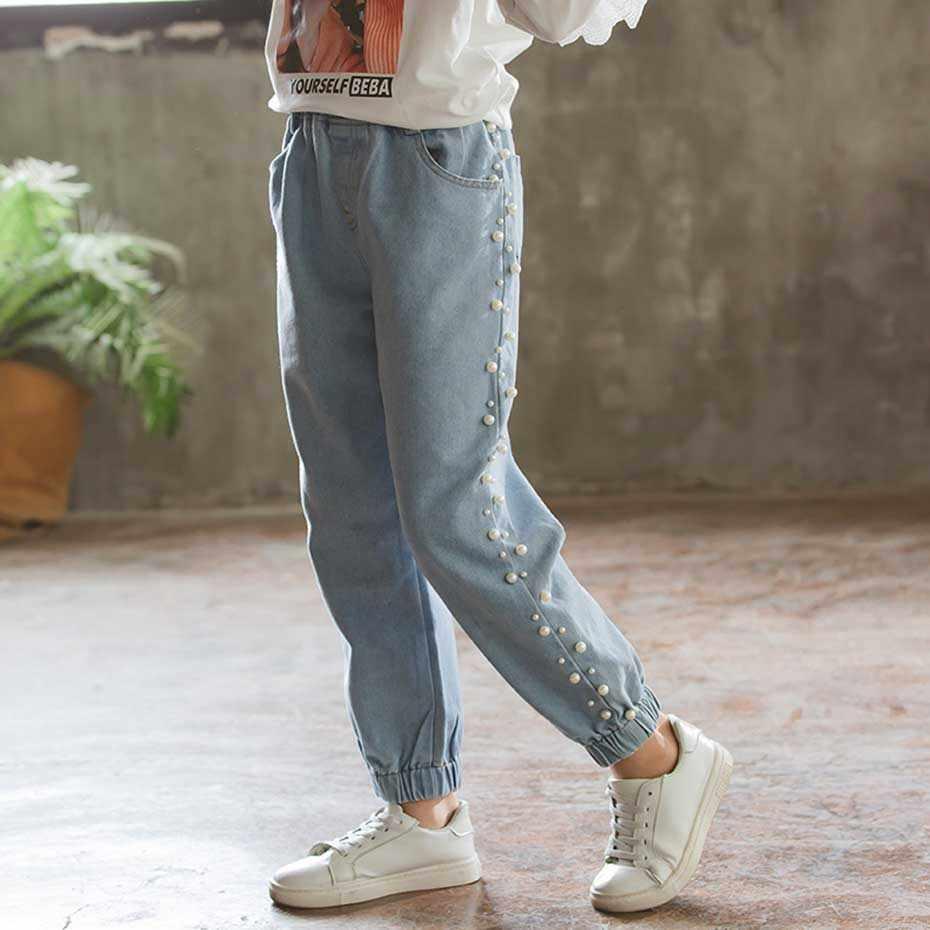 Dei Jeans dei bambini di Modo Che Borda I Jeans Per Le Ragazze Solid Casual Capretti Dei Jeans Della Ragazza di Autunno della Molla Vestiti Delle Ragazze Per 6 8 10 12 14 anni