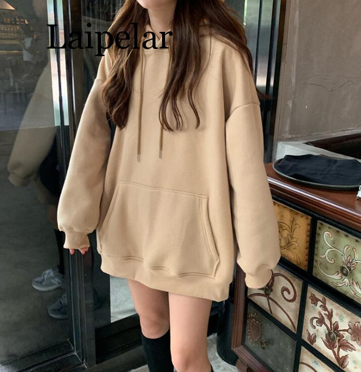 Laipelar Hoodies Women 2019 Autumn Oversized Harajuku Korean Style Plus Size Casual Solid Blue Khaki Hooded Winter Sweatshirt