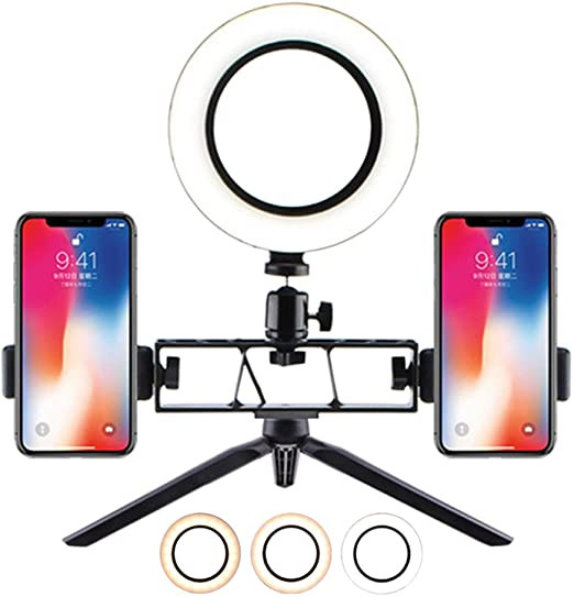 Desktop USB Selfie Ring Light with Tripod Stand And 2 Phone Holder 3 Light Modes